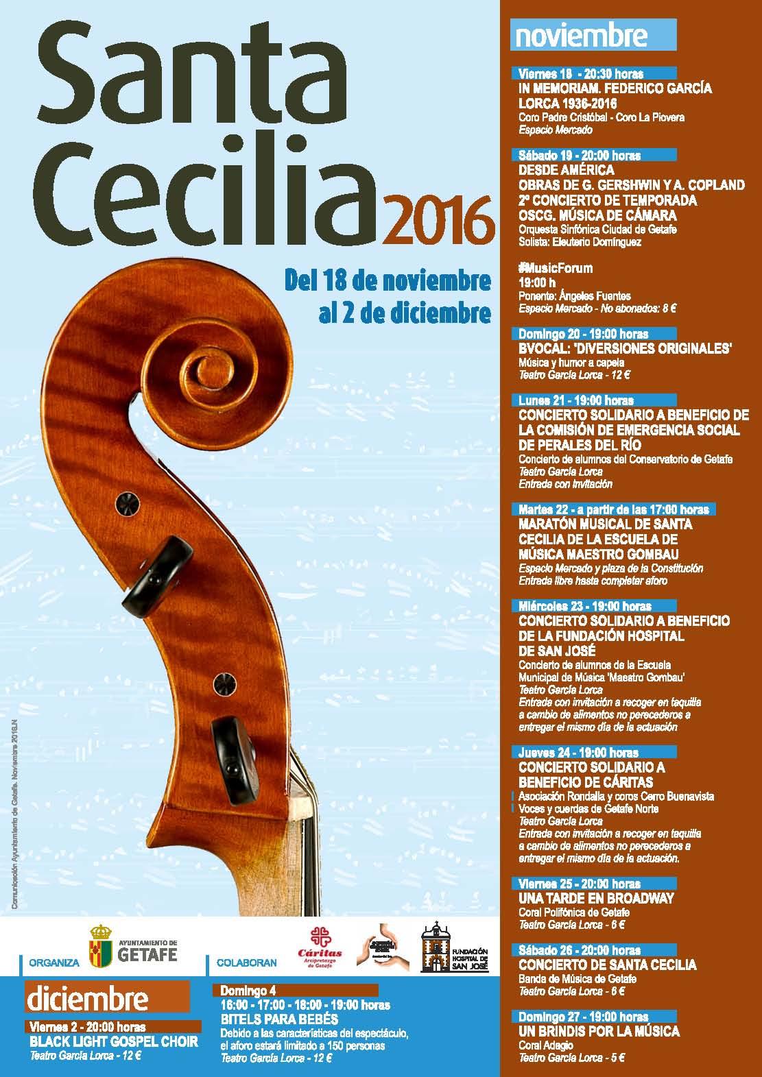 Del 18 de noviembre al 2 de diciembre la música protagonista en Getafe con el ciclo de Santa Cecilia