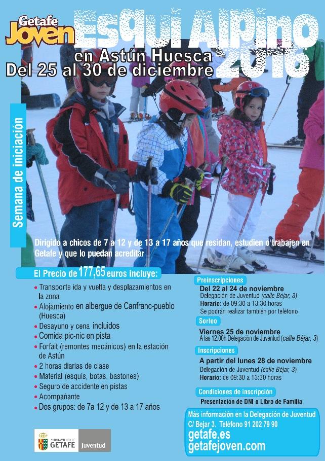Se abre el plazo de preinscripción de la semana de esquí alpino para niños y jóvenes organizada por el Ayuntamiento de Getafe