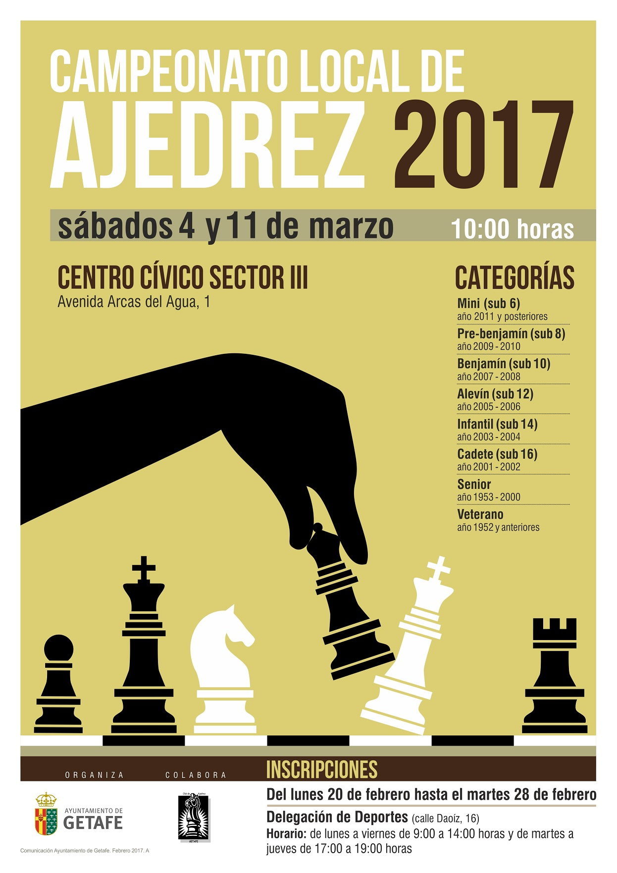 Hoy se abre el plazo de inscripción en Getafe para el Campeonato Local de Ajedrez 2017