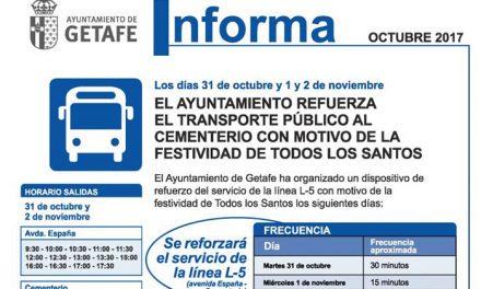El Ayuntamiento de Getafe refuerza el transporte público al cementerio por la celebración de 'Todos los Santos'