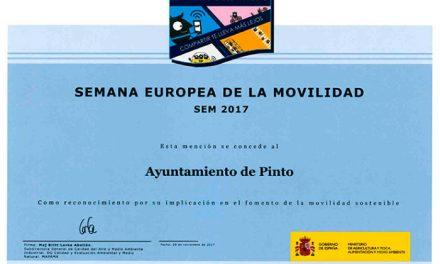 Pinto recibe el Diploma de la Semana Europea de la Movilidad