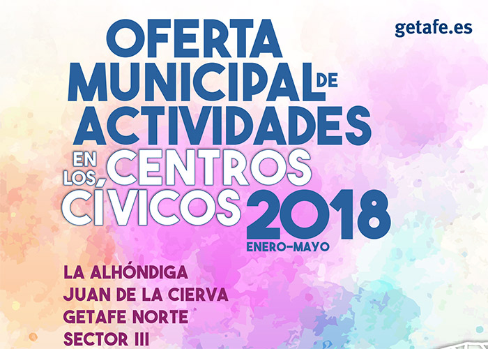 El Ayuntamiento de Getafe lanza, por primera vez, una nueva oferta de cursos y talleres en los centros cívicos para el primer cuatrimestre de 2018