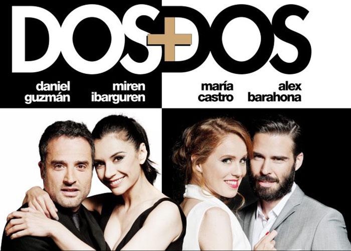 La obra teatral 'Dos más dos' con Daniel Guzmán, Miren Ibarguren, María Castro y Álex Barahona llega al Teatro García Lorca