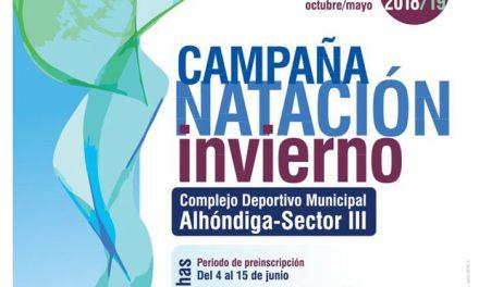 Comienza el plazo de preinscripción para la Campaña de Natación de Invierno 2018-2019 del Complejo Deportivo Municipal 'Alhóndiga-Sector III'