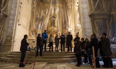 Ayuntamiento y Comunidad de Madrid visitan las obras en la parroquia de Santo Domingo de Silos