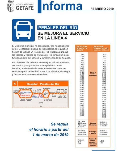 Mejoras del servicio de las líneas de autobús L4 y 447