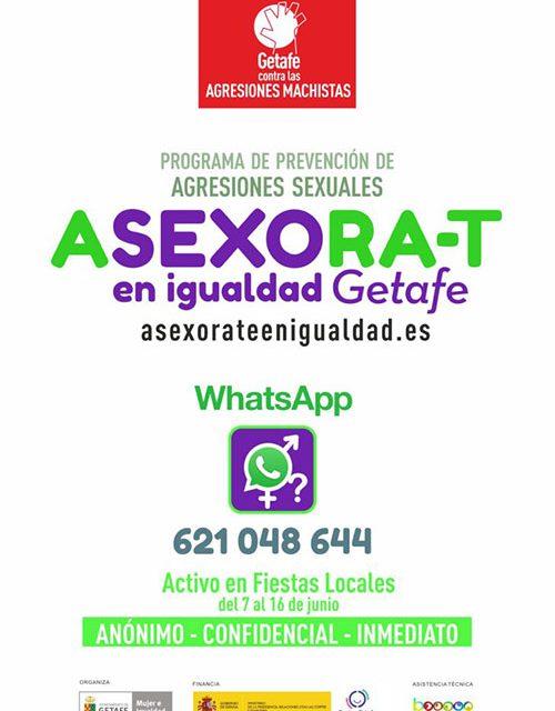 El programa 'Asexóra-T en Igualdad' y la Unidad Violeta estarán presentes en las Fiestas de Getafe
