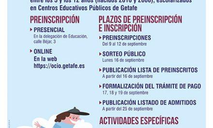 Abierto el plazo de preinscripción en actividades extraescolares con vacantes organizadas por el Ayuntamiento de Getafe