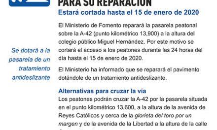 El Ministerio de Fomento reparará la pasarela que une El Greco en La Alhóndiga con Sector III